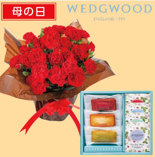 母の日のギフト「カーネーション「赤」鉢植+フィナンシェ&ウェッジウッド ワイルド ストロベリーティーバッグセット」