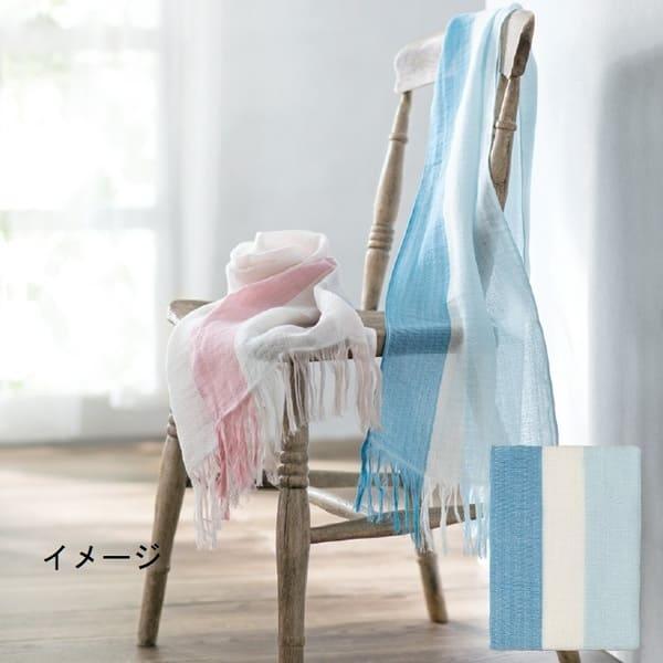 母の日のギフト「ラインカラーマフラー(青×水色)」